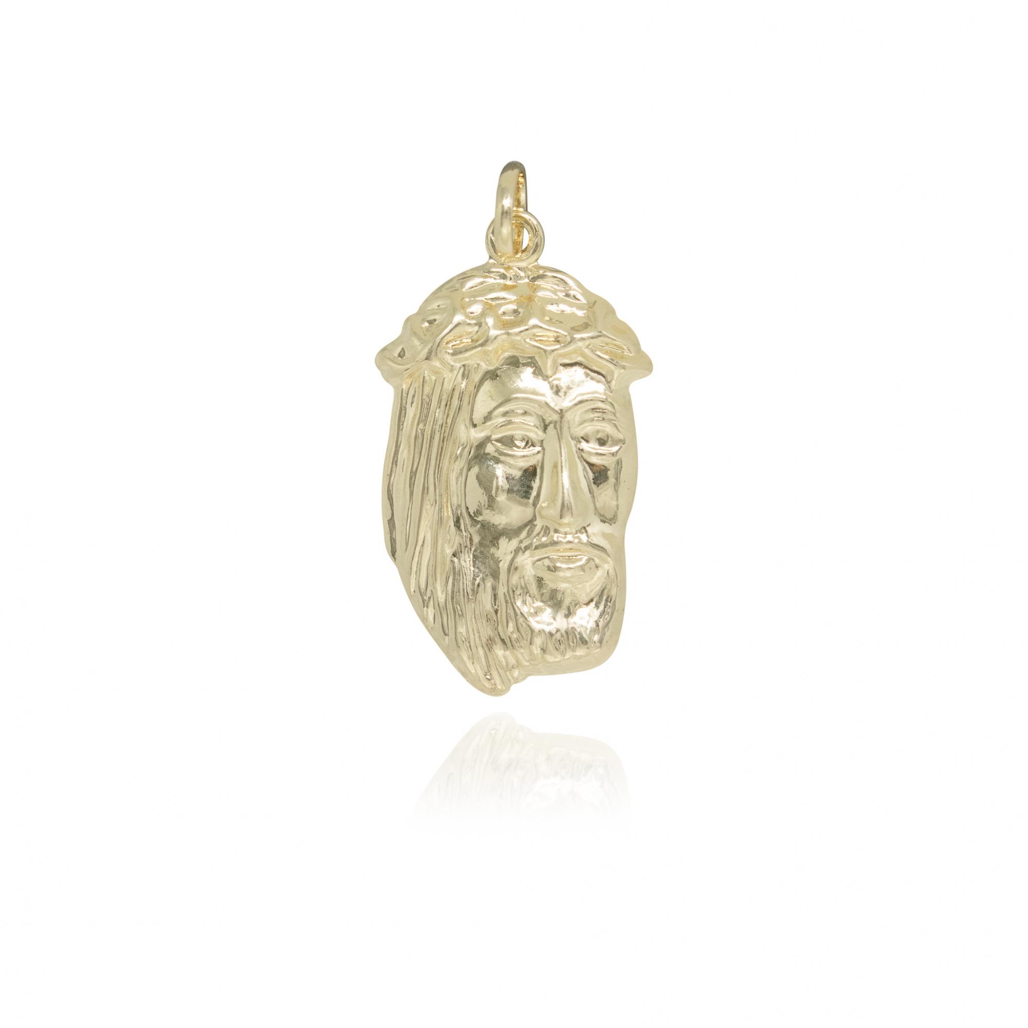 Pingente Face de Cristo diamantada semijoia folheado a ouro