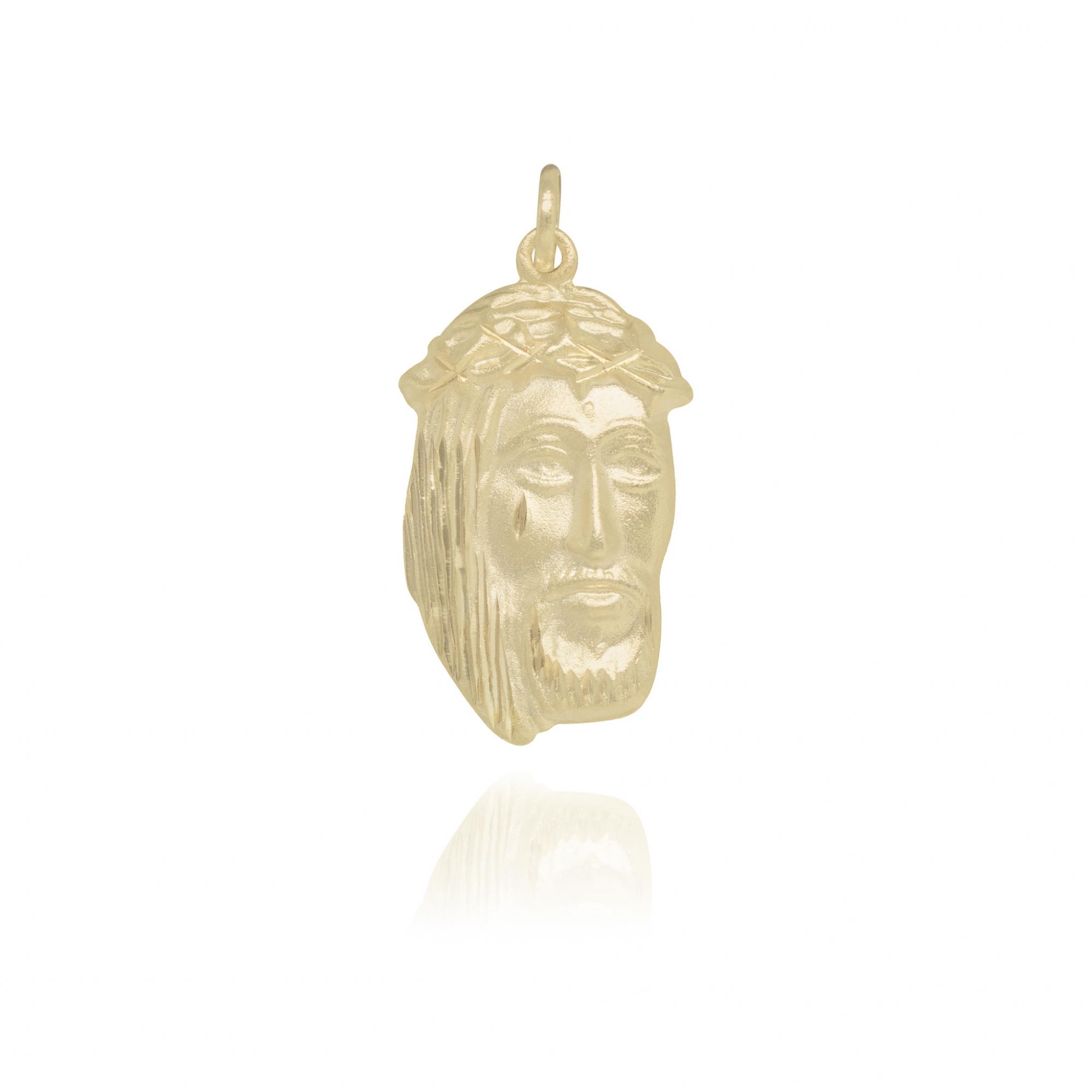 Pingente Face de Cristo Jateada semijoia folheado a ouro 18k