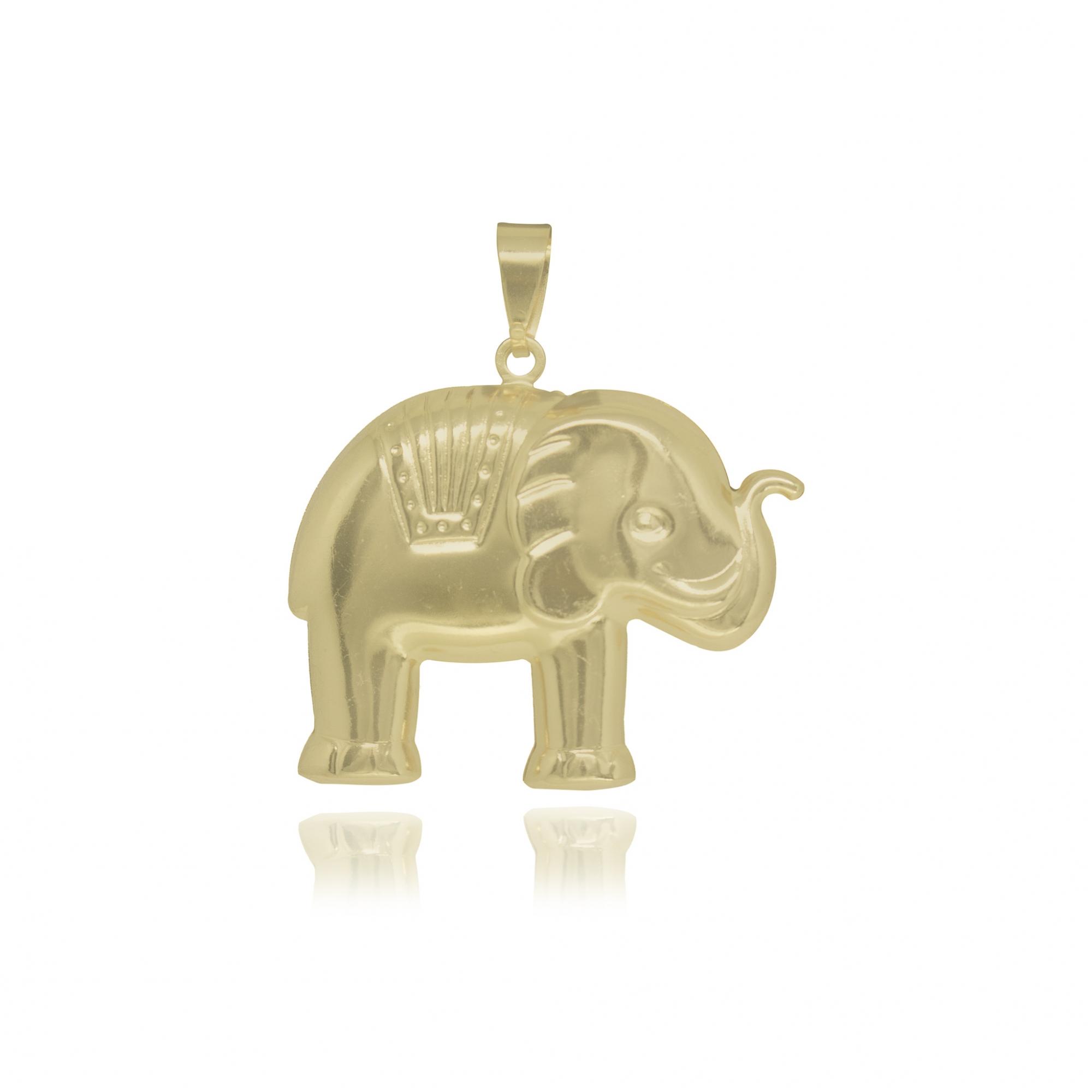 Pingente folheado a ouro ou prata e verniz Elefante P