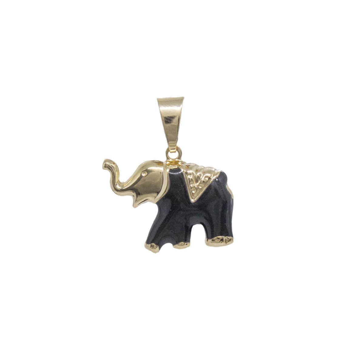 Pingente folheado a ouro ou prata e verniz Elefante resinado