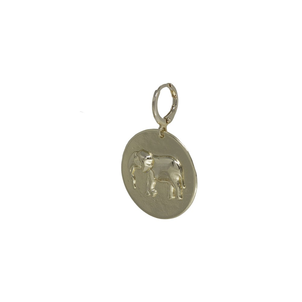 Pingente folheado a ouro ou prata e verniz Medalha elefante