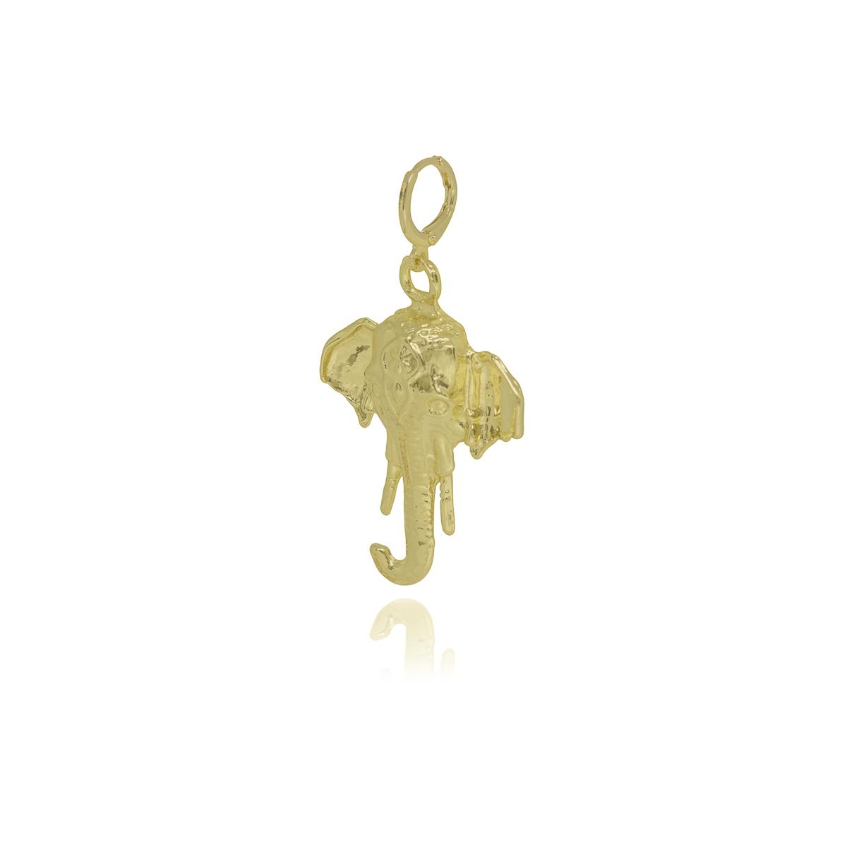 Pingente folheado a ouro prata e verniz Elefante