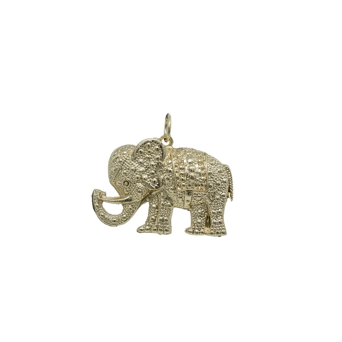 Pingente folheado a ouro prata e verniz Elefante trabalhado