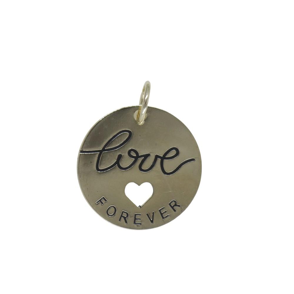 Pingente folheado a ouro prata e verniz Love Forever