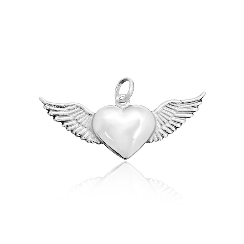 Pingente joia em prata 925 coração alado