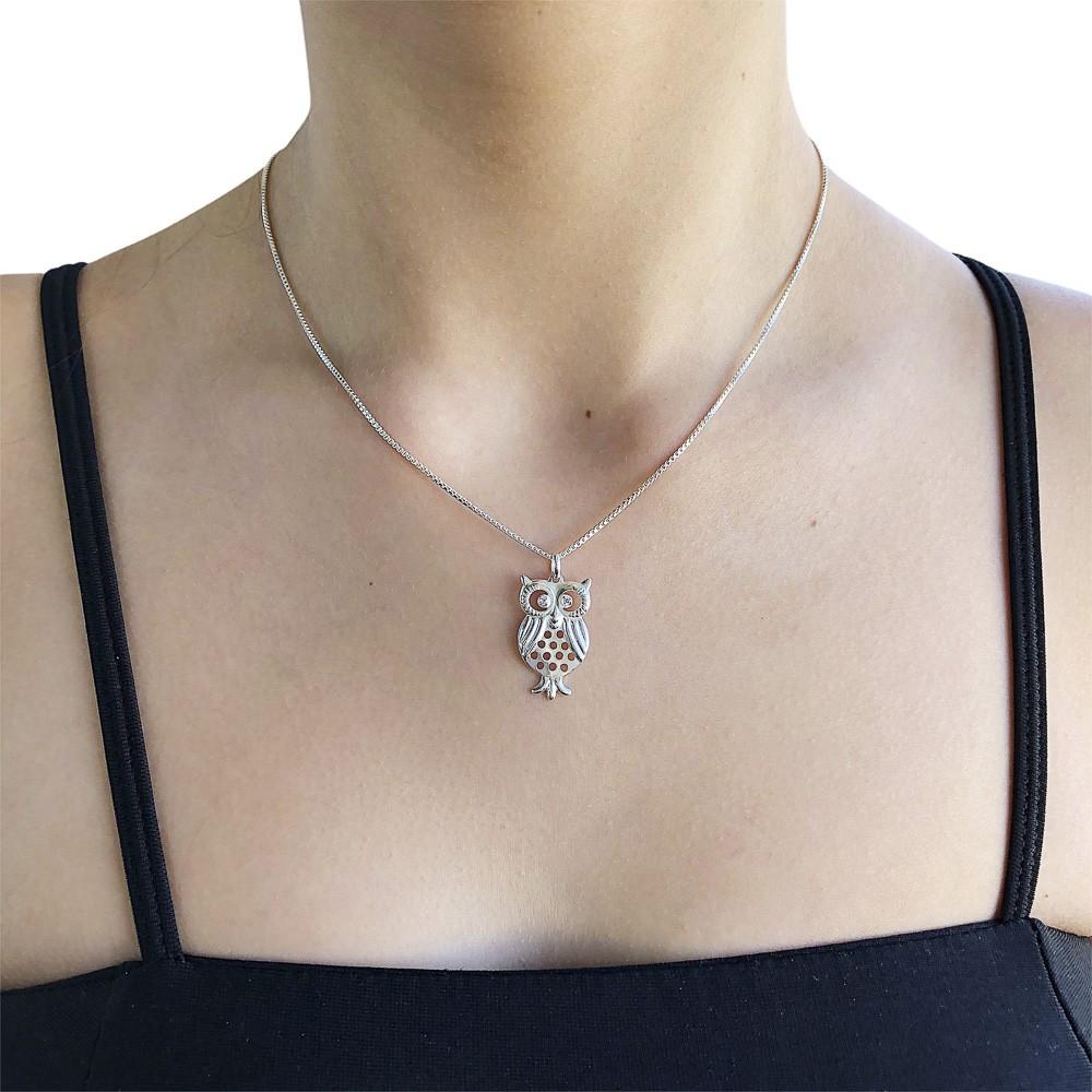 Pingente joia em prata 925 pura Coruja com bolinhas vazadas