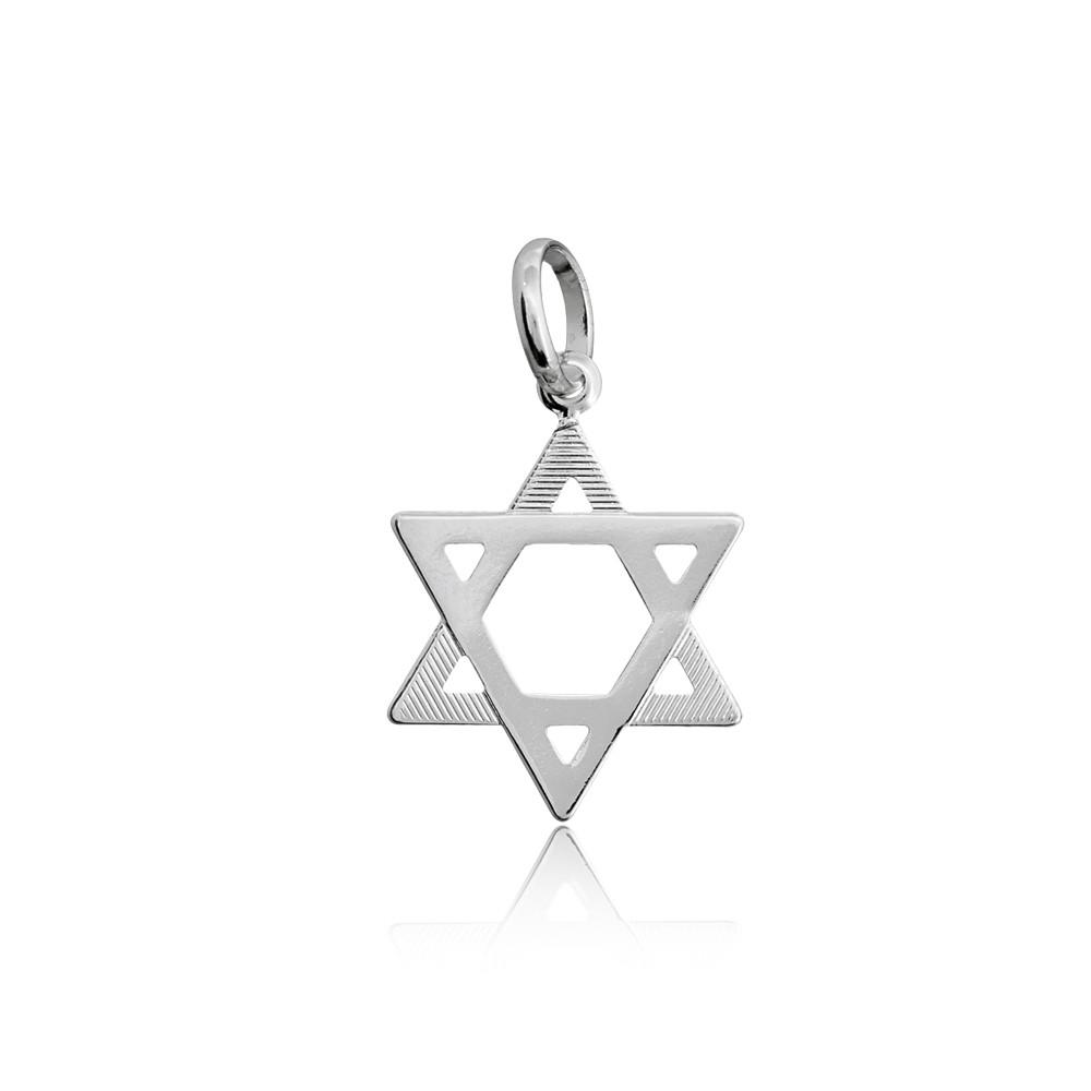 Pingente joia em prata 925 pura Estrela de David trabalhada