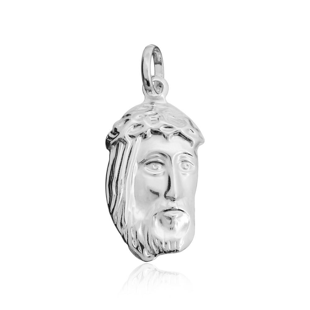 Pingente joia prata 925 pura Face de Cristo hipoalergênica
