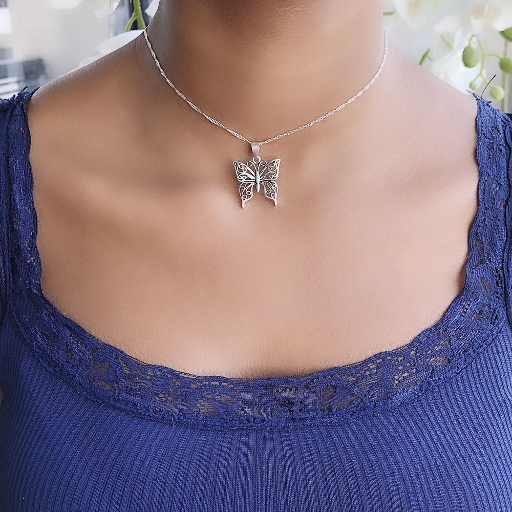 Pingente joia em prata 925 maciça Borboleta hipoalergênica