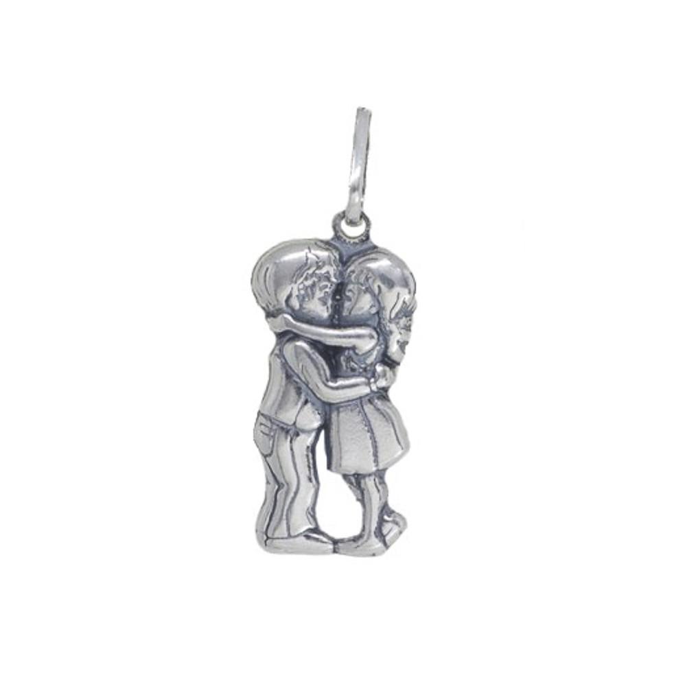 Pingente joia em prata 925 maciça casal