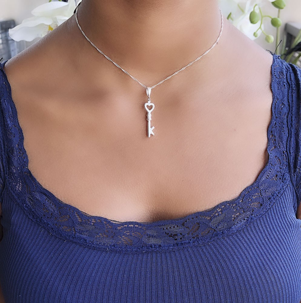 Pingente joia prata de lei 925 maciça Chave hipoalergênica