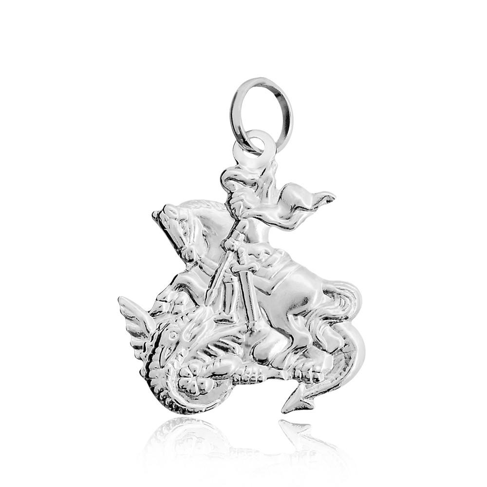 Pingente joia em prata 925 maciça São Jorge hipoalergênica