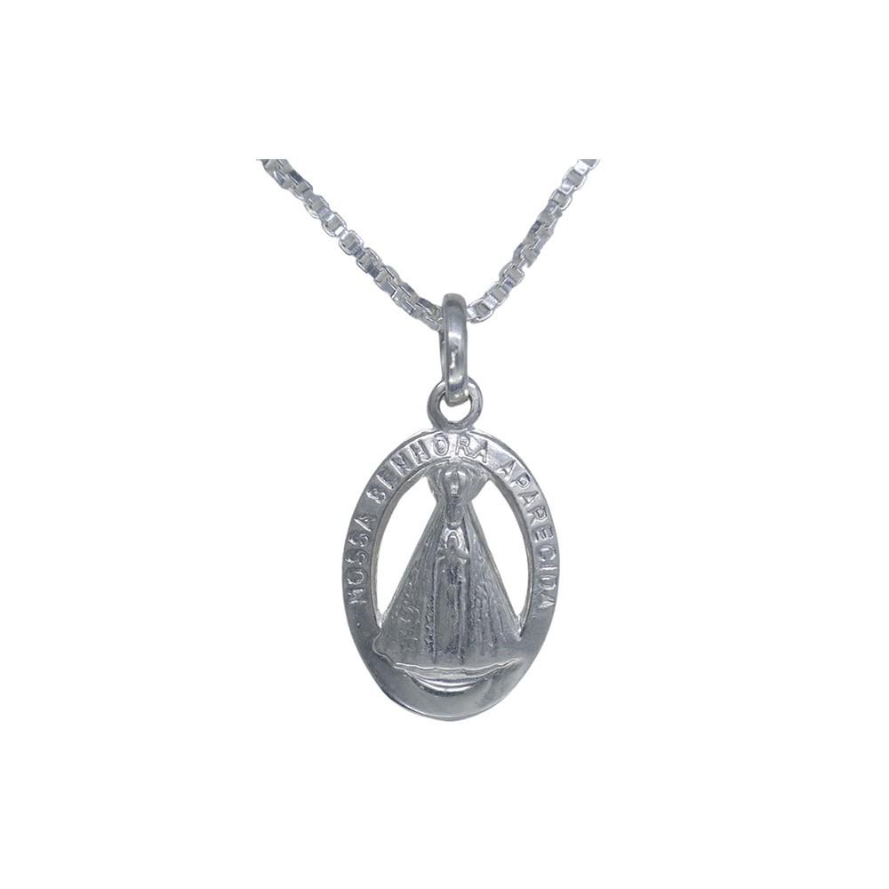 Pingente joia em prata 925 pura Nossa Senhora Aparecida oval