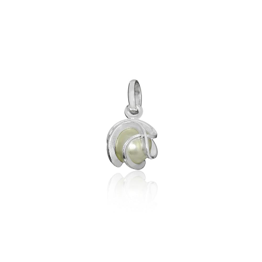 Pingente joia prata 925 pura orbital pérola P hipoalergênica