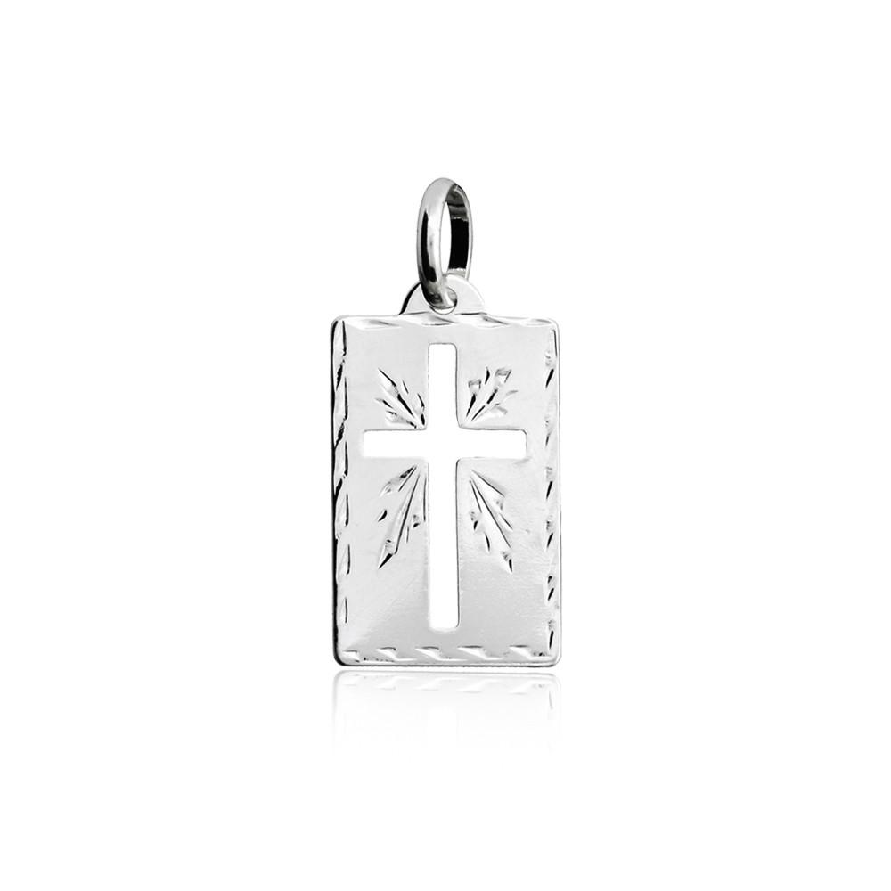 Pingente joia em prata 925 Placa com cruz vazada G