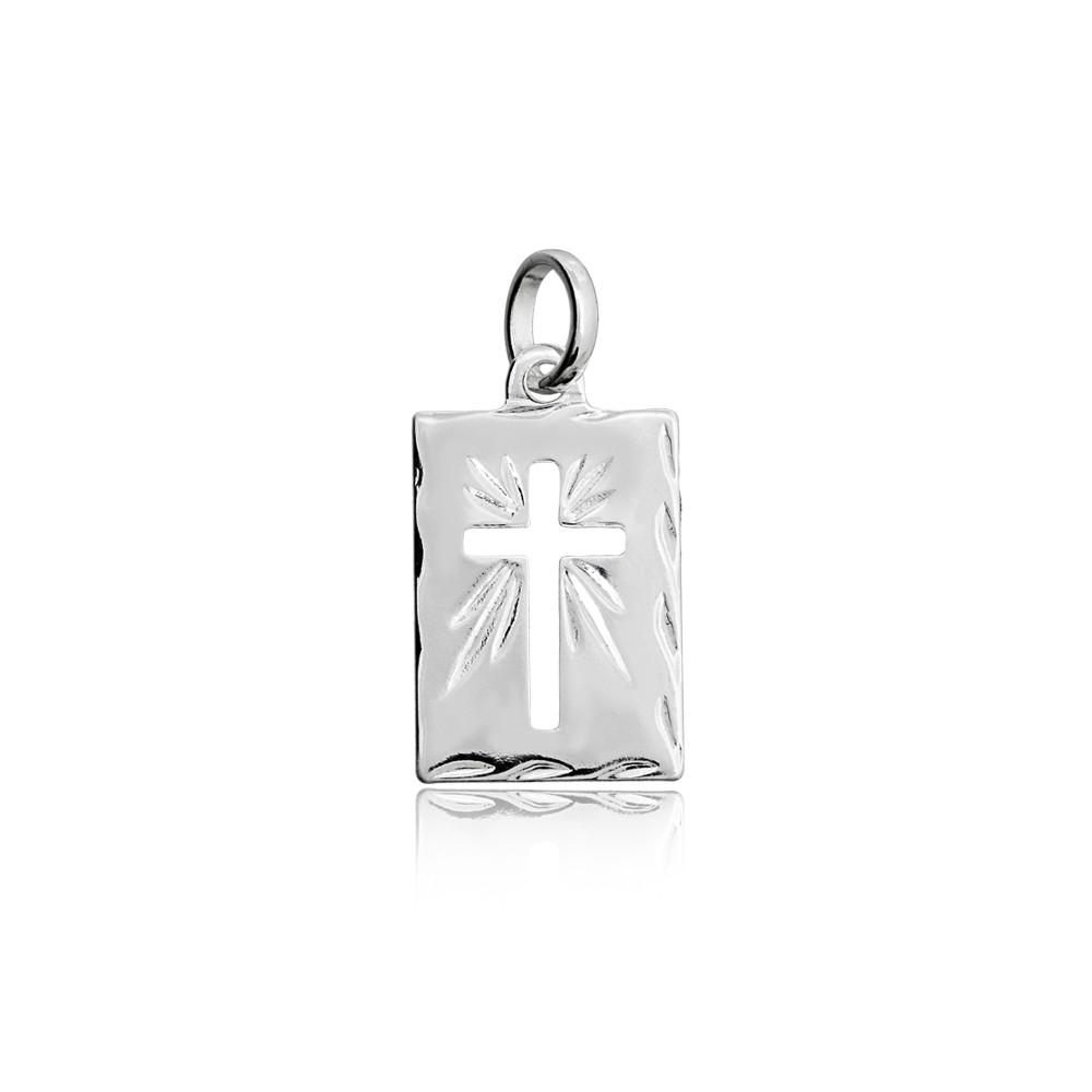 Pingente joia em prata 925 Placa com cruz vazada M