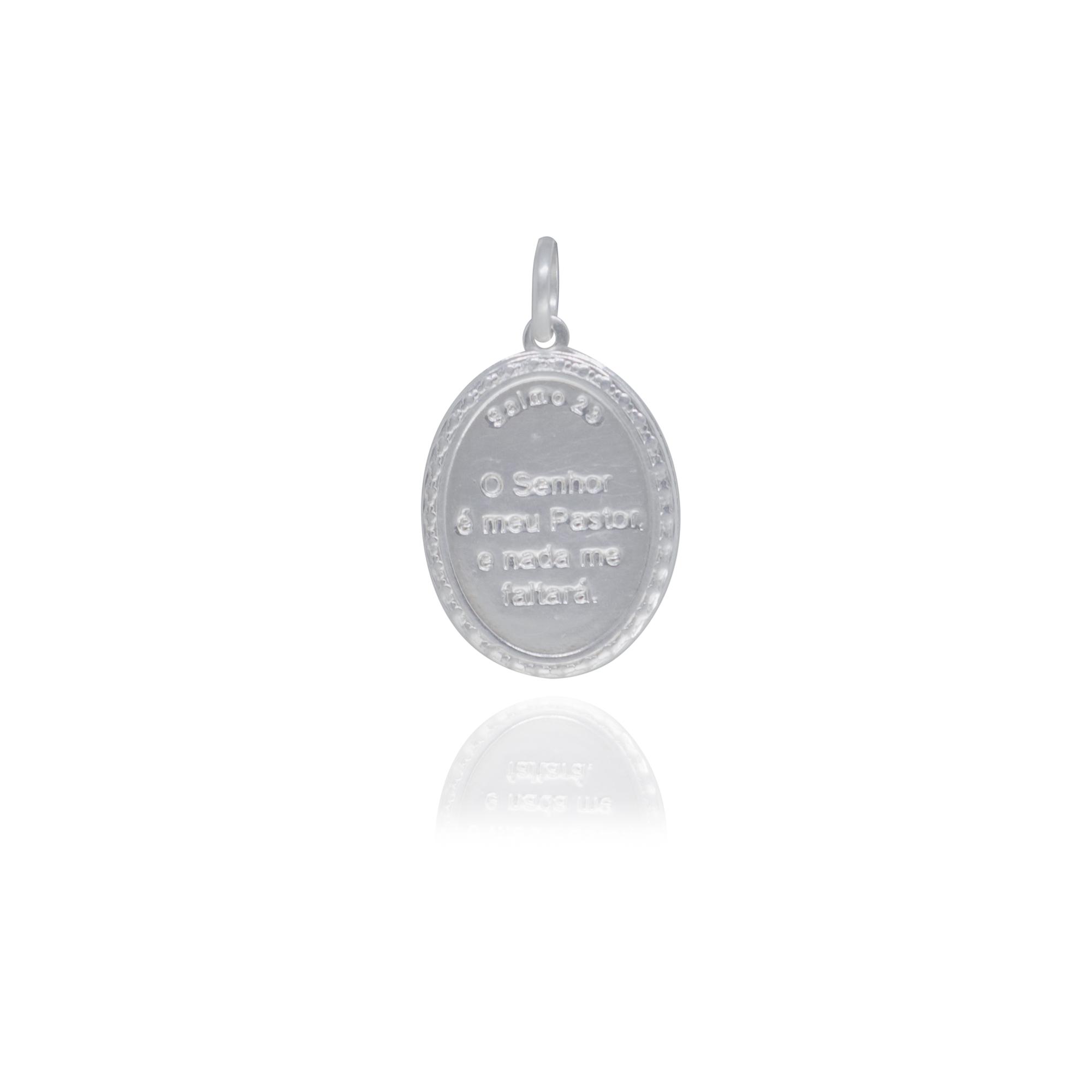 Pingente joia em prata 925 pura placa oval e borda Salmo 23