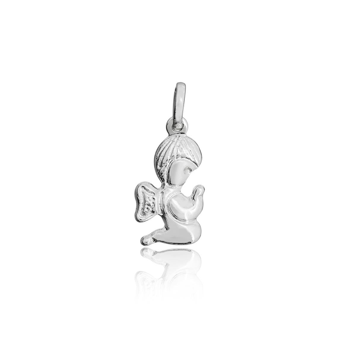 Pingente joia em prata 925 pura Anjinho da Guarda ajoelhado