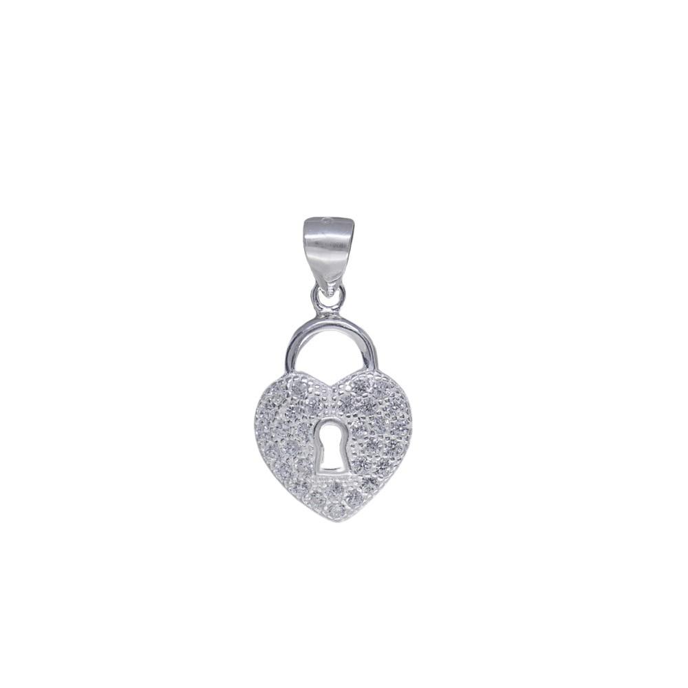 Pingente joia em prata 925 pura Cadeado em Coração cravejado