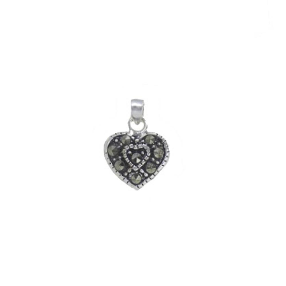 Pingente joia em prata 925 pura coração com marcassita