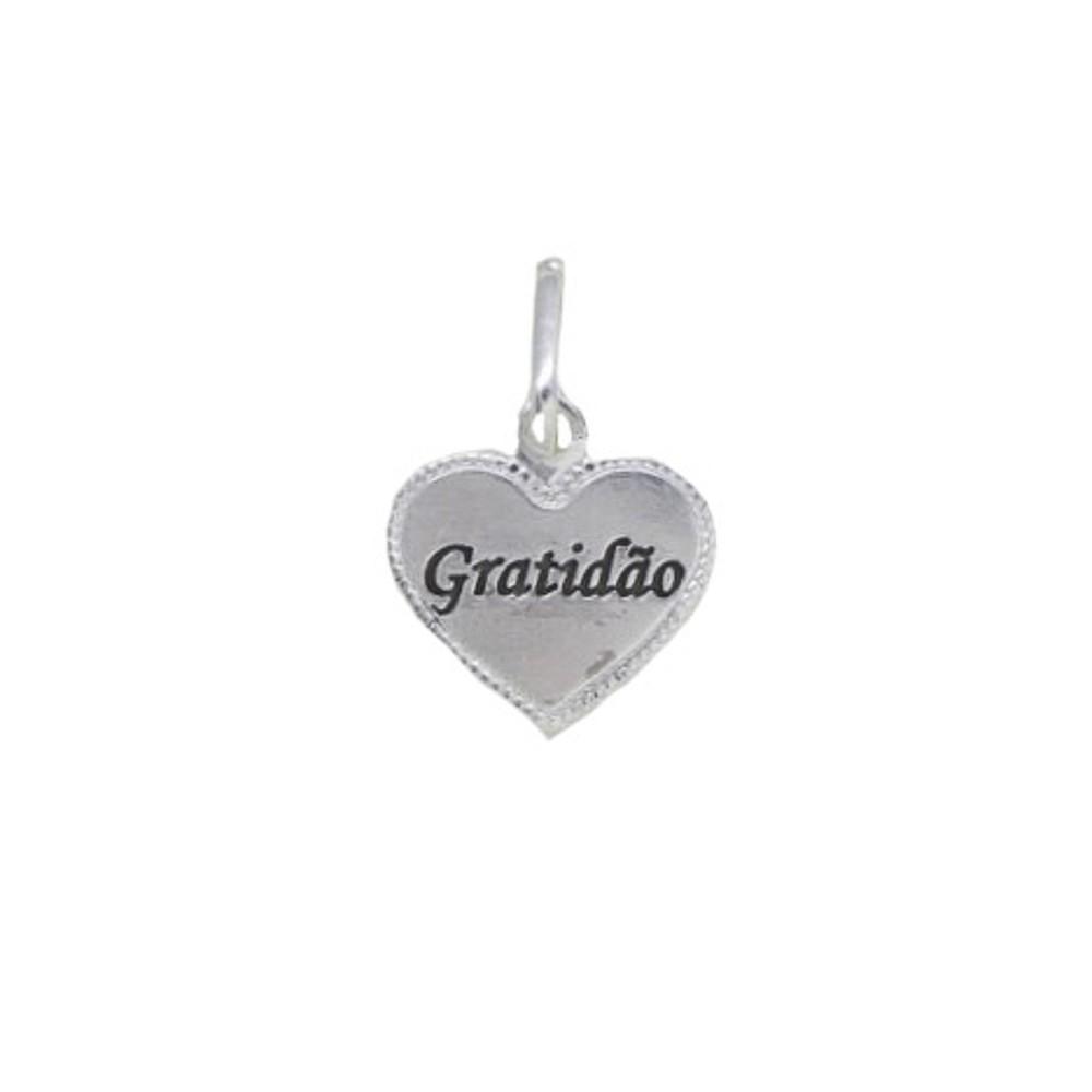 Pingente joia em prata 925 pura Coração Gratidão