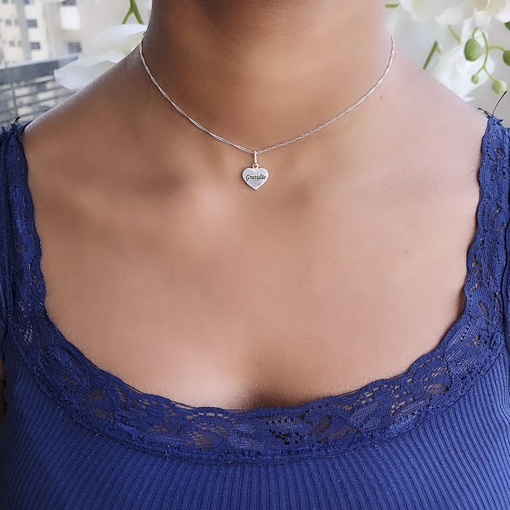 Pingente joia prata 925 pura Coração Gratidão hipoalergênica