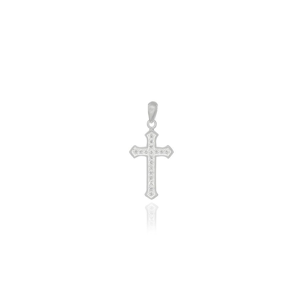 Pingente joia em prata 925 pura cravejado Crucifixo