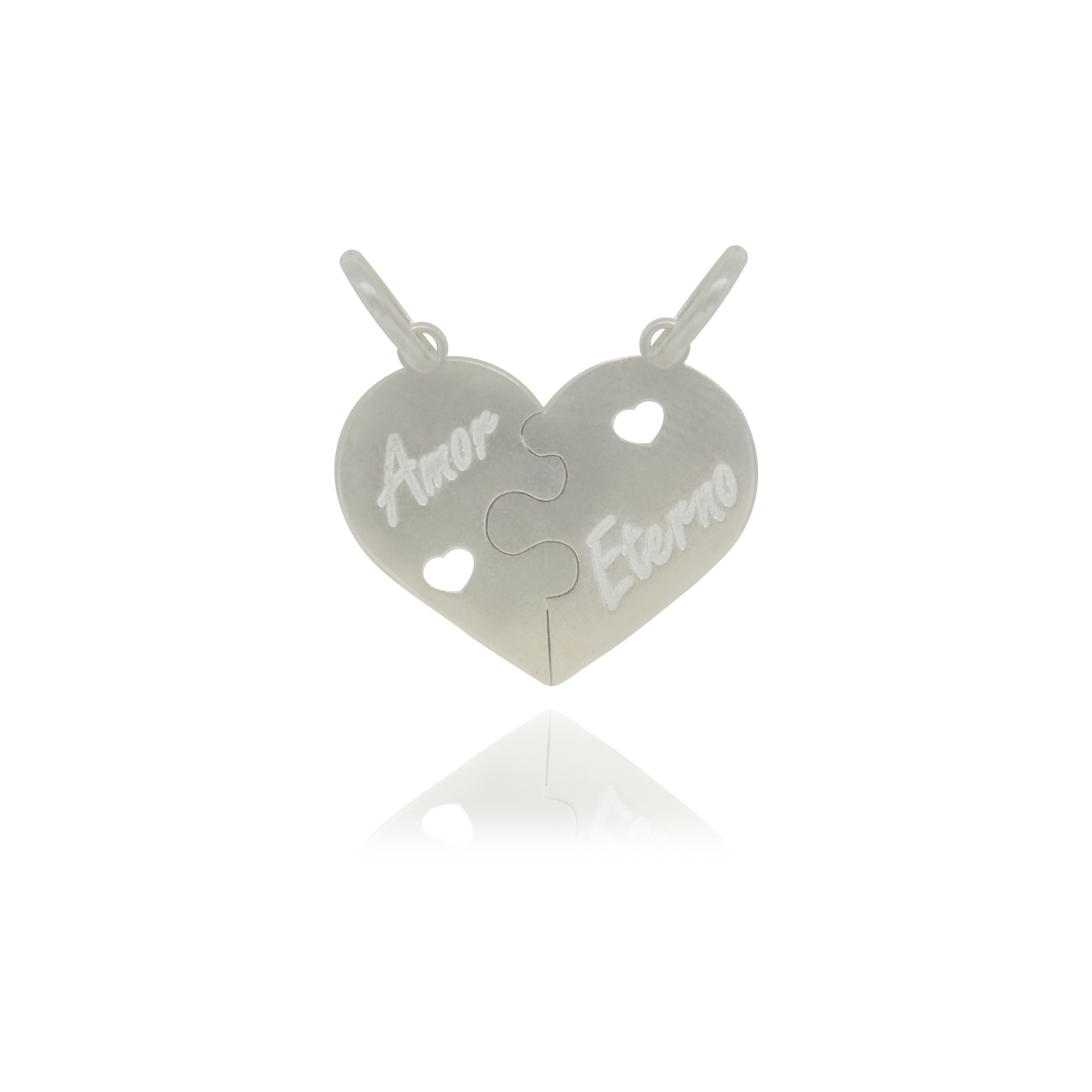 Pingente duplo joia prata 925 pura Amor Eterno duas peças