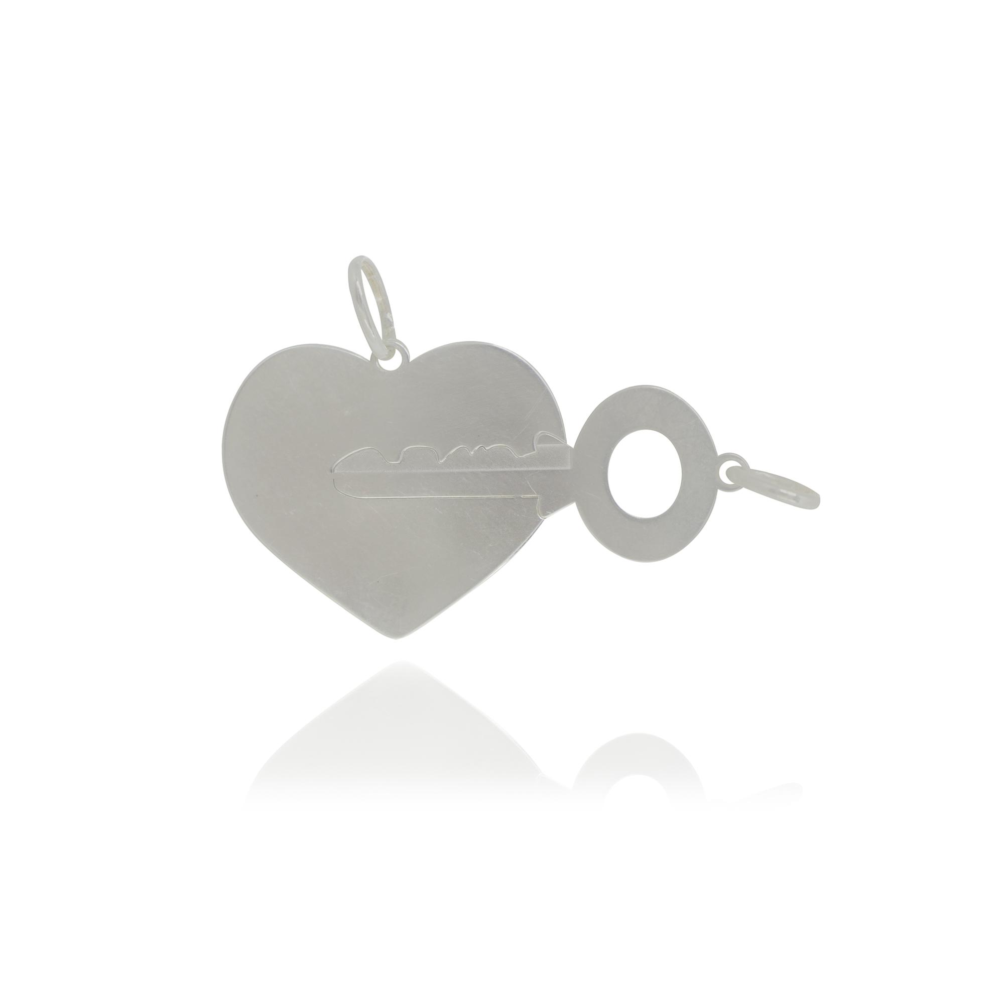 Pingente joia em prata 925 pura Coração Chave hipoalergênica