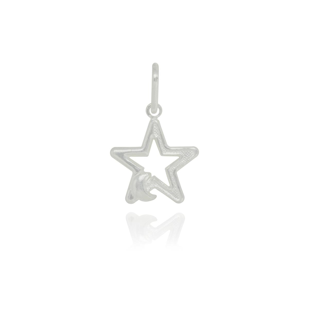 Pingente joia em prata 925 pura Estrela e lua hipoalergênica