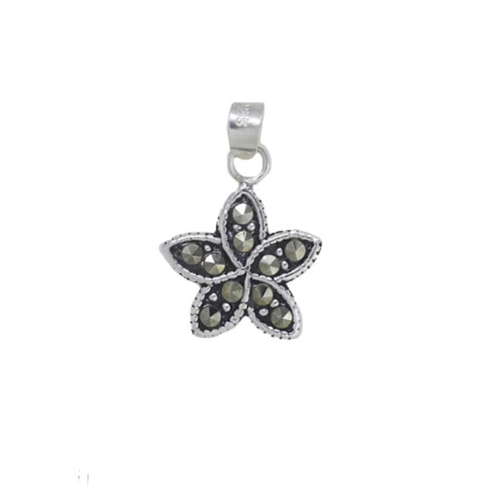 Pingente joia em prata 925 pura flor com marcassita