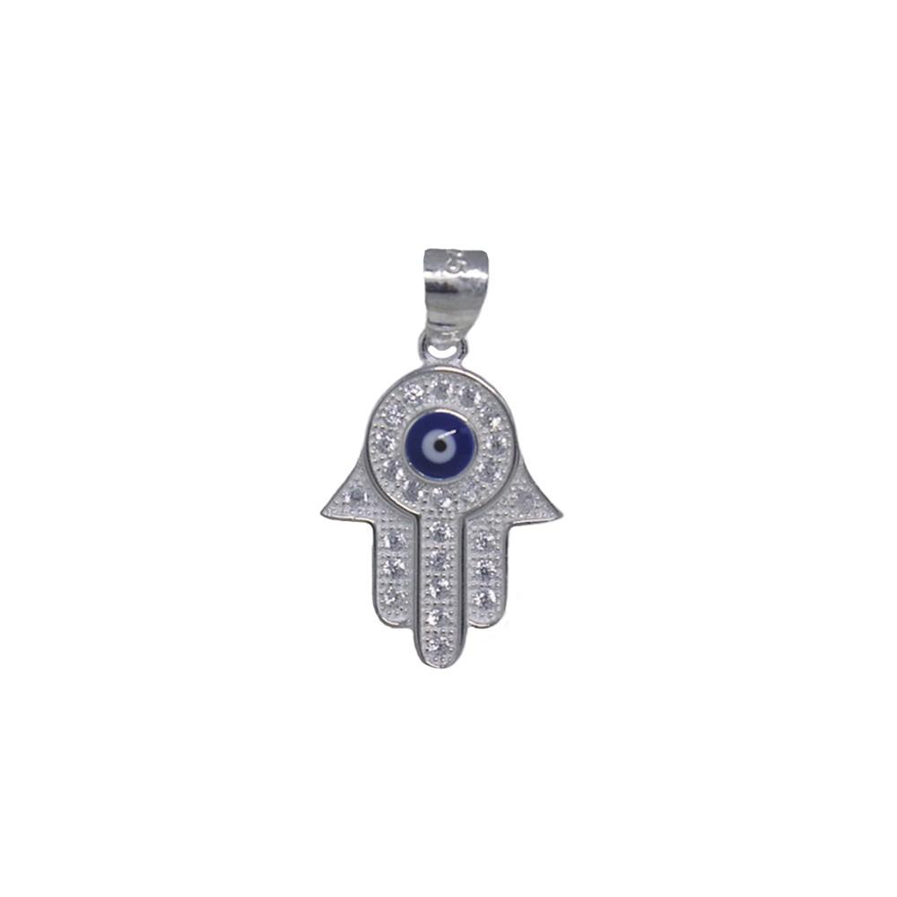 Pingente joia prata de lei 925 pura Mão de Fátima cravejada