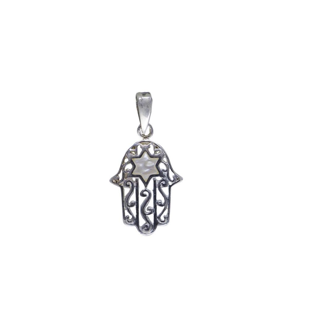 Pingente joia em prata 925 pura Mão de Fátima em madrepérola