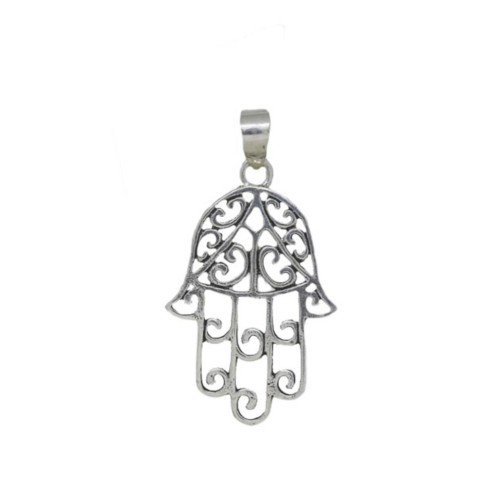 Pingente joia em prata 925 pura Mão de Fátima trabalhada