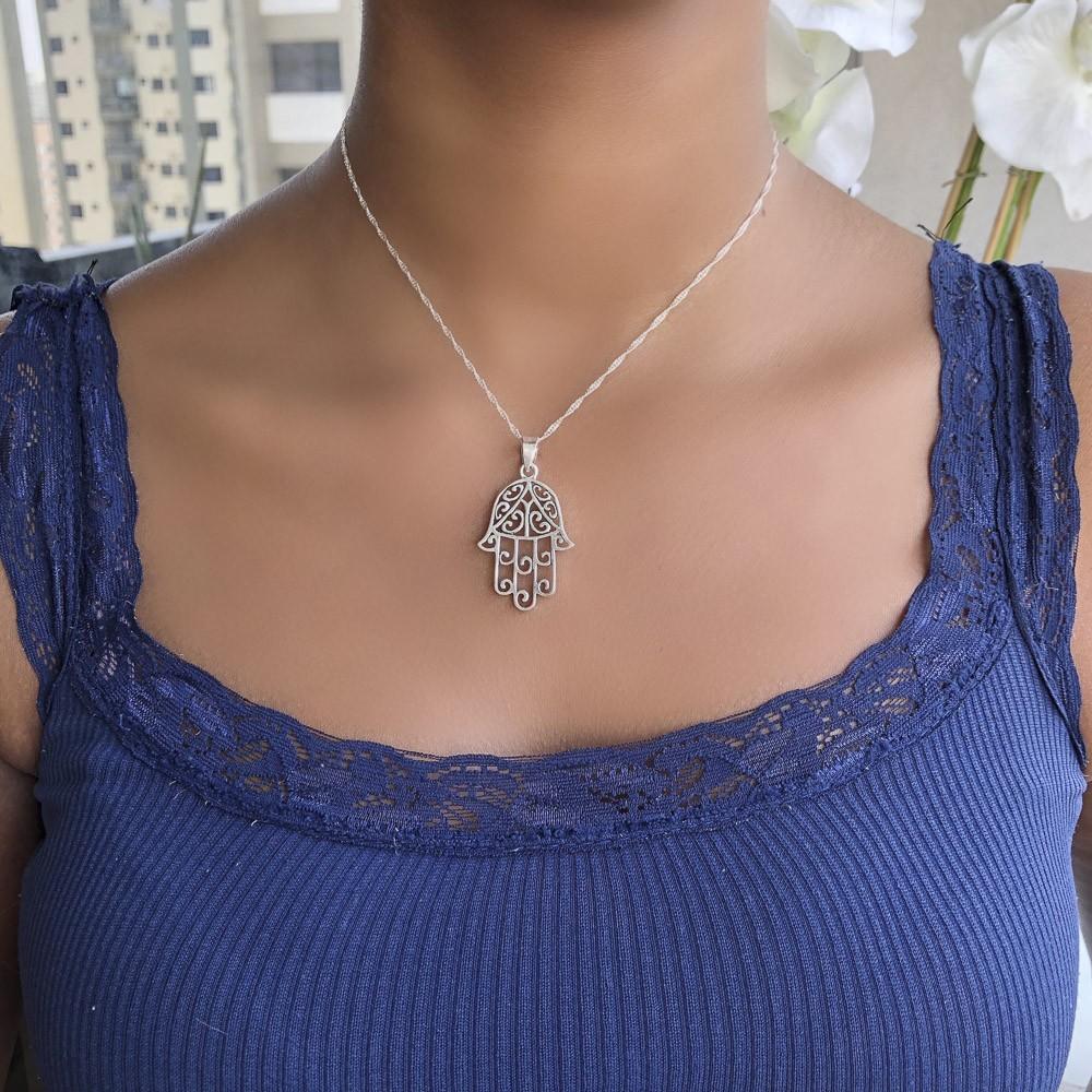 Pingente joia prata de lei 925 pura Mão de Fátima trabalhada