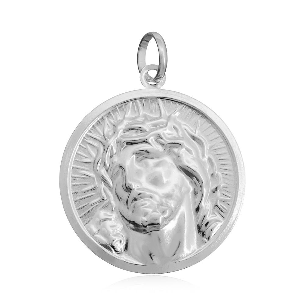 Pingente joia em prata 925 pura Placa com Face de Cristo