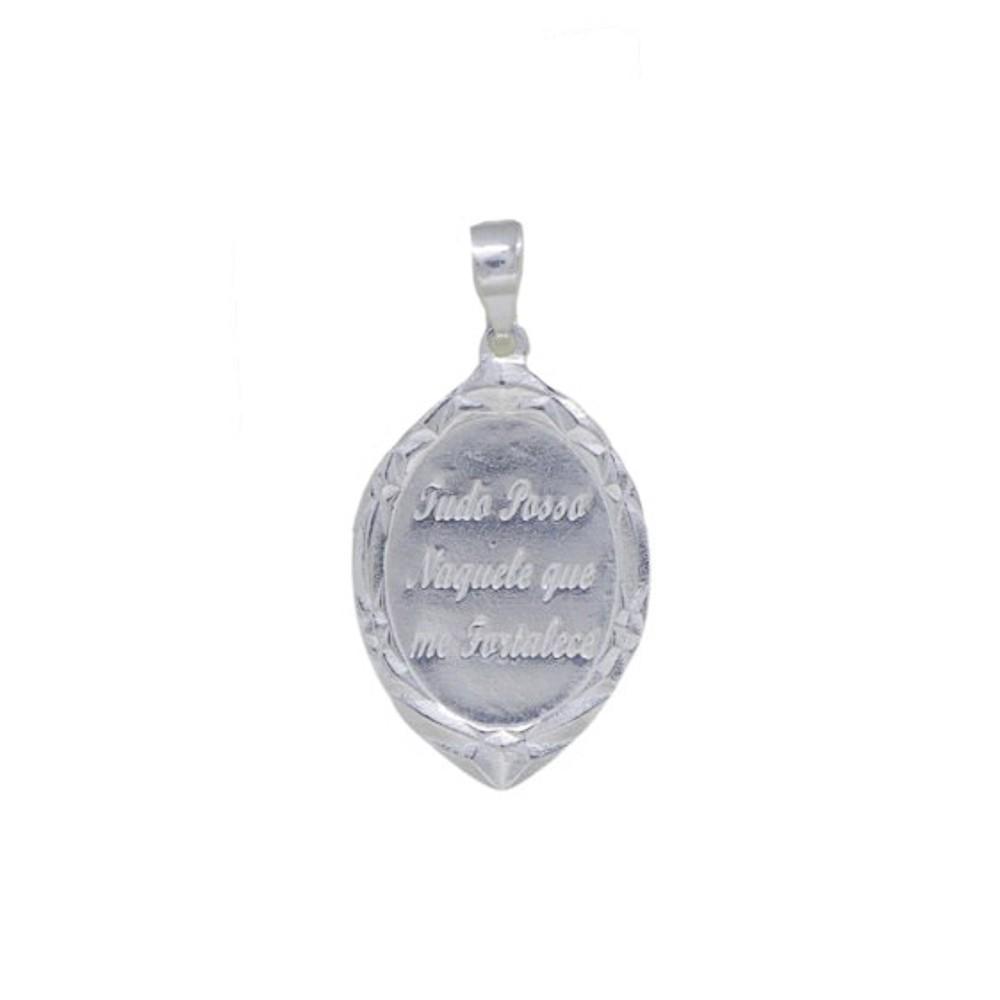 Pingente joia em prata 925 pura placa oval Tudo posso