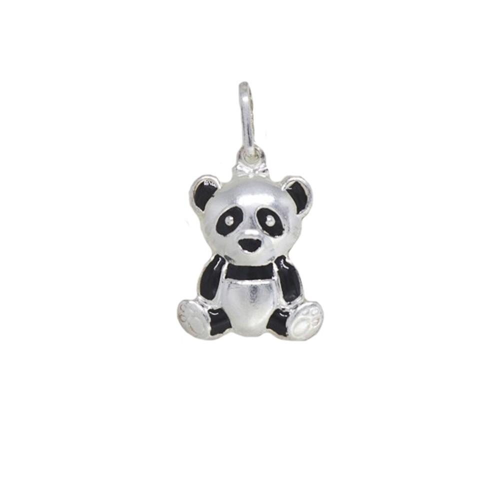 Pingente joia prata 925 pura Urso Panda resin hipoalergênica