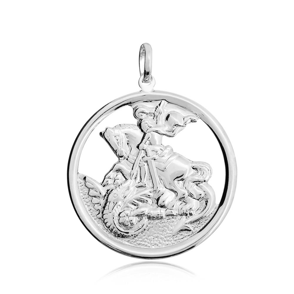 Pingente joia prata 925 pura São Jorge no aro hipoalergênica