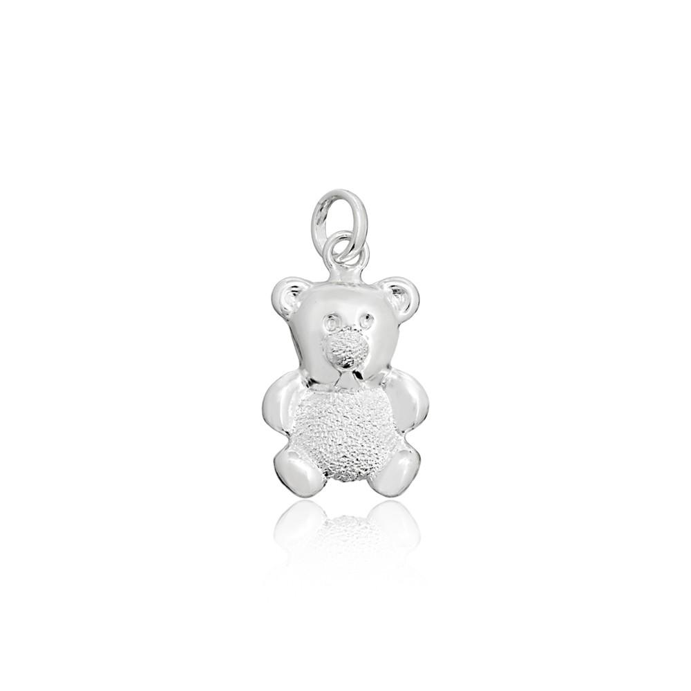 Pingente joia em prata 925 Urso com corpo fosco