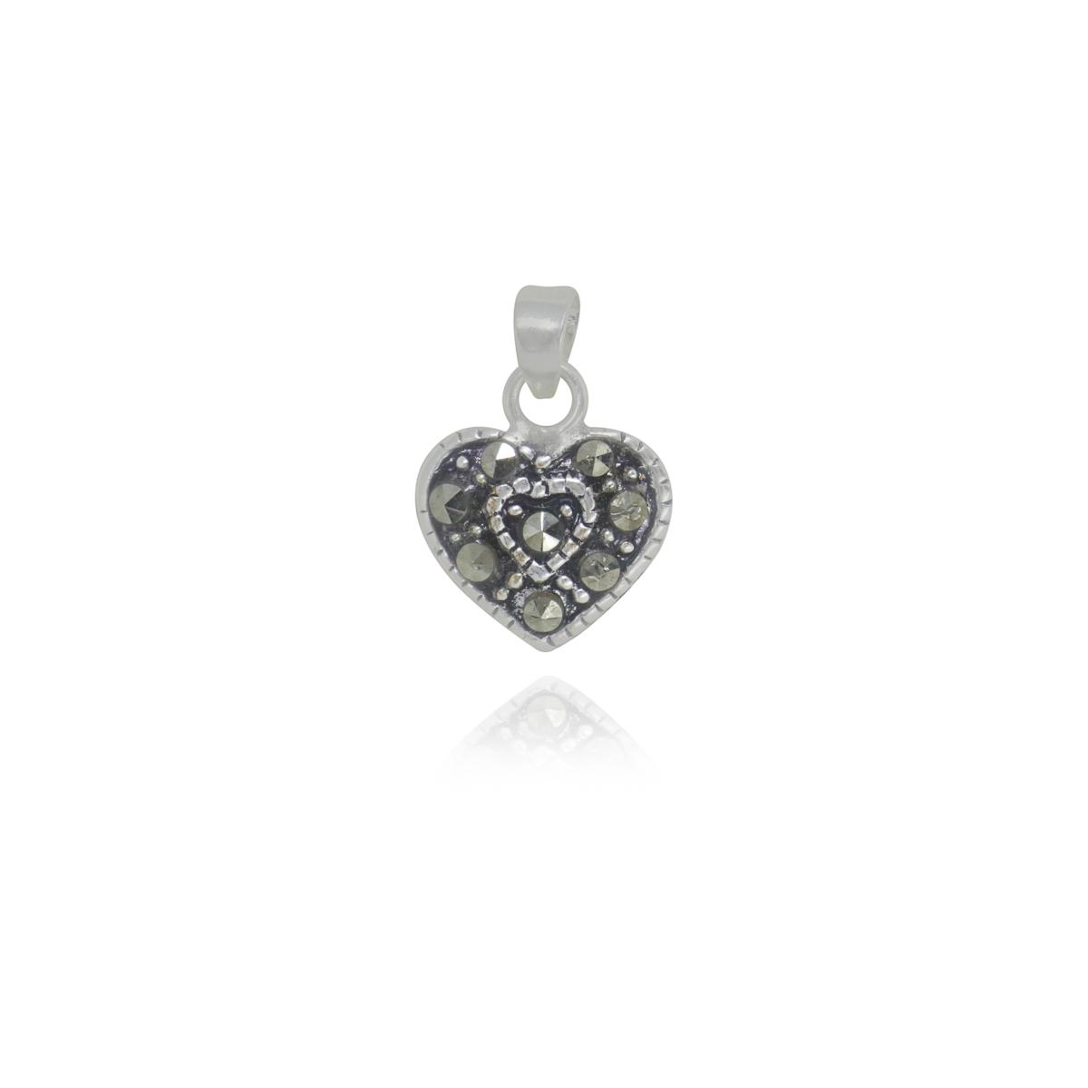 Pingente joia em prata de lei 925 pura coração em marcassita