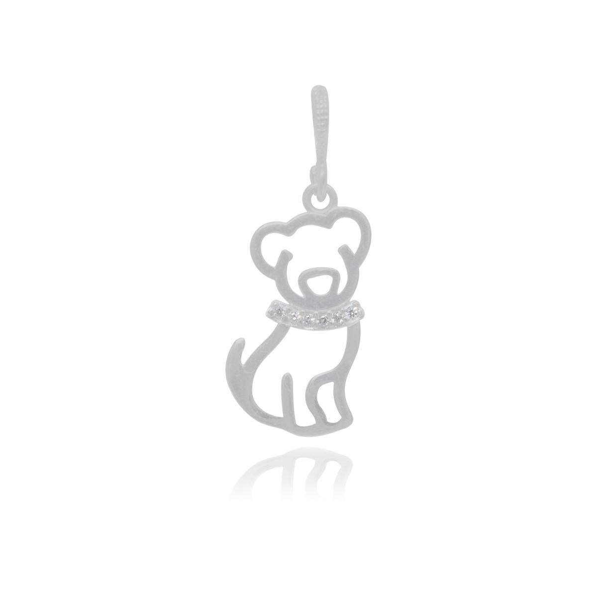 Pingente joia em prata de lei 925 pura cravejada Cão ou Gato