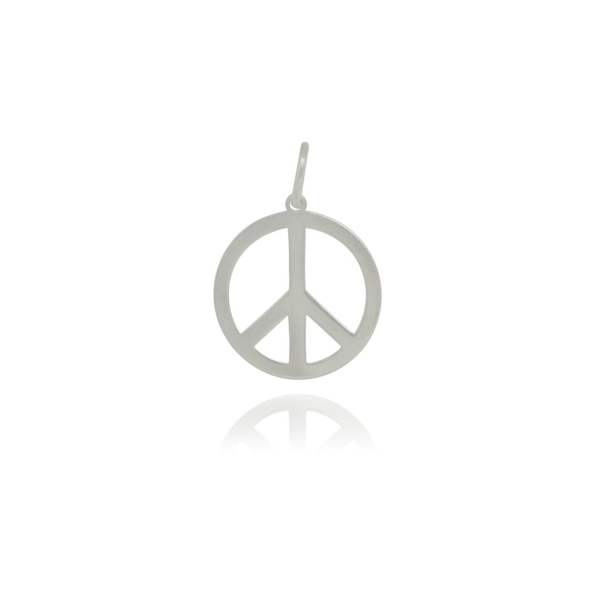 Pingente joia prata 925 maciça Paz e Amor hipoalergênica