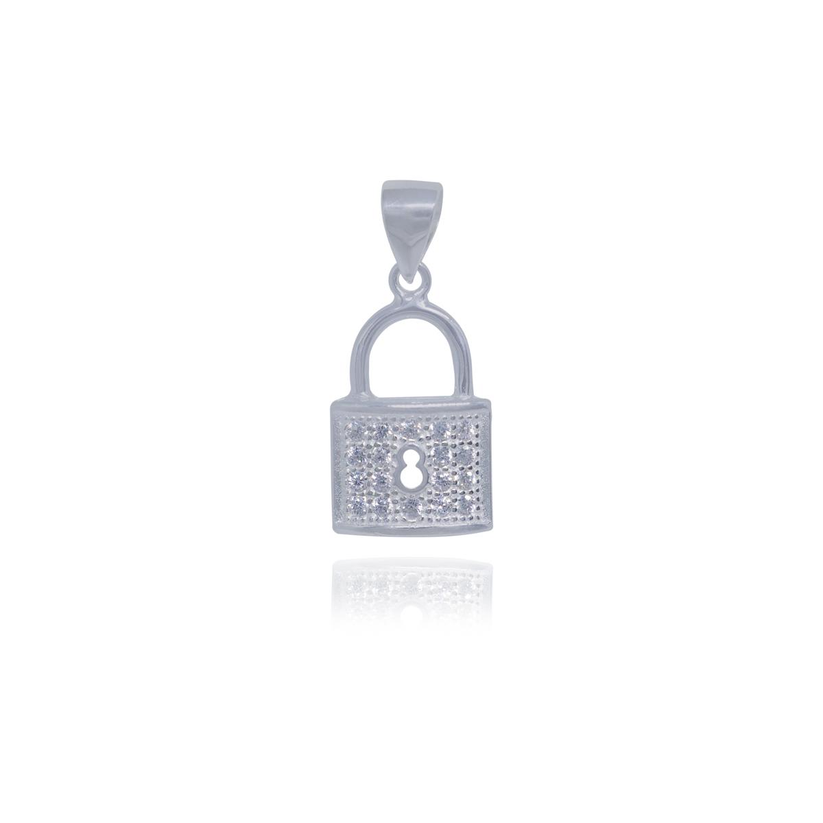 Pingente joia prata 925 pura Cadeado zircônia hipoalergênica