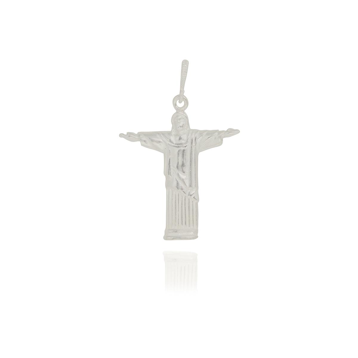Pingente joia prata 925 pura Cristo redentor hipoalergênica