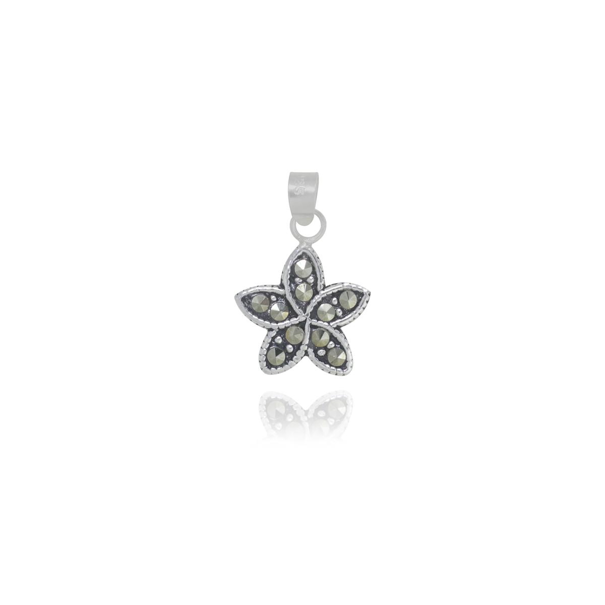 Pingente joia prata 925 pura flor marcassita hipoalergênica