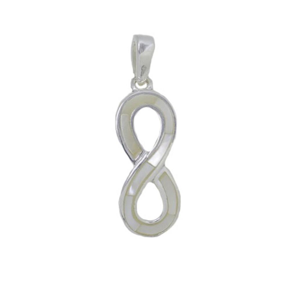 Pingente joia prata 925 pura infinito madrepérola e  abalone
