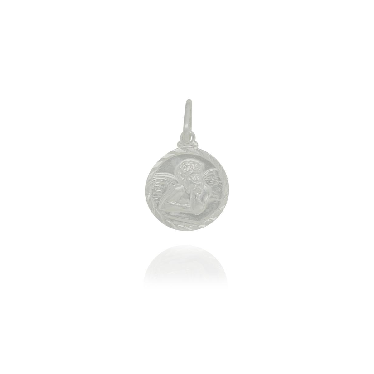Pingente joia prata 925 pura medalha Anjinho hipoalergênica