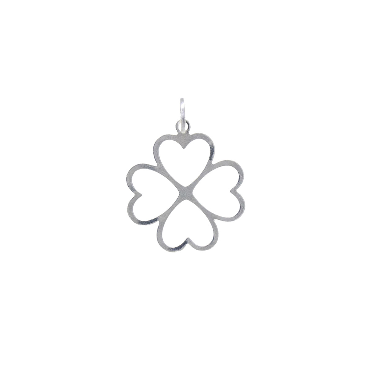 Pingente joia prata 925 pura Trevo G vazado hipoalergênica