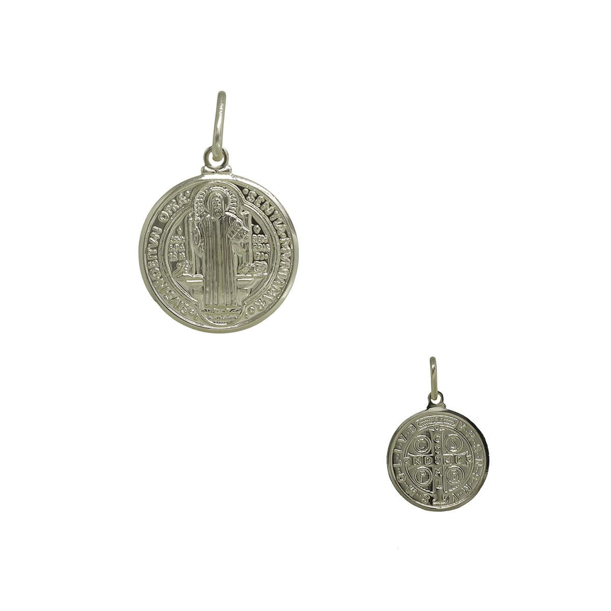 Pingente medalha de São Bento folheada a ouro 18k ou ródio